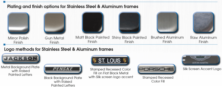 License Plate Frame Finish Options